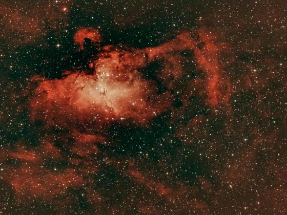 Adlernebel M 16 im Sternbild Schlange mit viel H-alpha Anteil