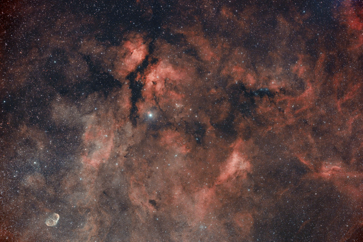 Simeis 57, NGC 6888, IC 1318 und mehr im Schwan