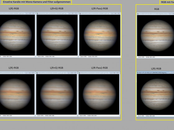 Jupiter mit diversen L-RGB Kobinationen