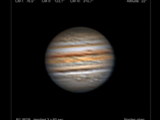 Jupiter in der Nacht vom 4. zum 5. September 2021