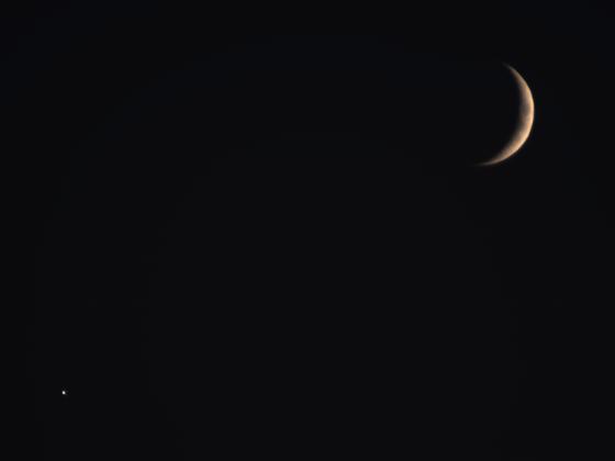Venus und Mond am 9. Okt. 2021 um 19:16 MESZ