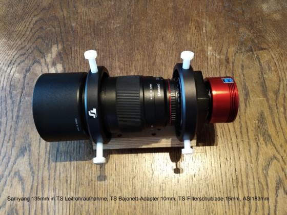 Setup Samyang 135mm mit ASI 183mm