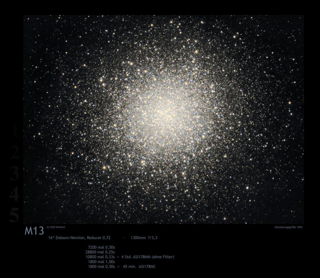 M13  mit kurzen Belichtungen