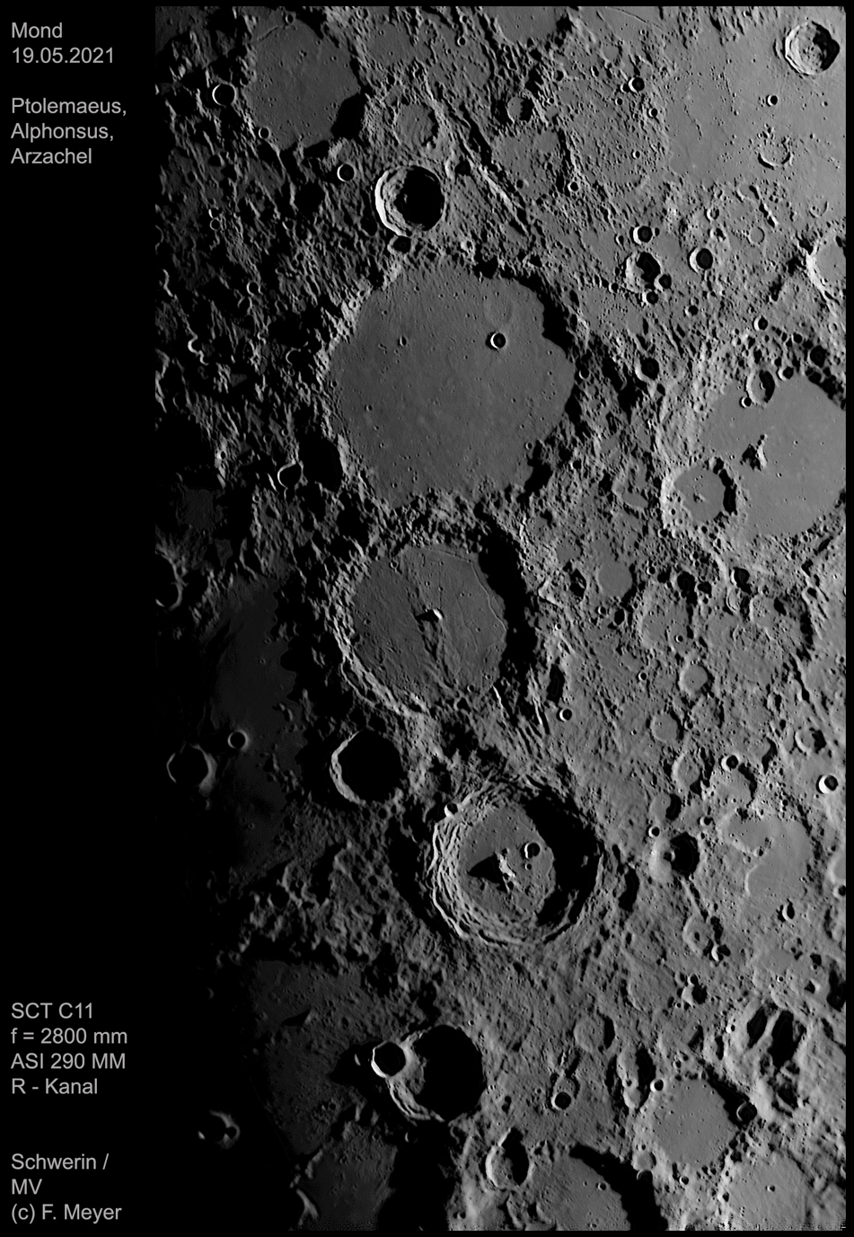 Ptolemaeus, Alphonsus, Arzachel am 19.05.2021